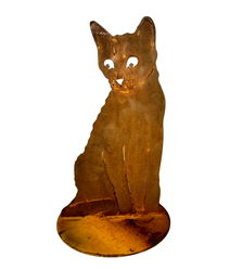 Cat Sitting on Stand Garden Art