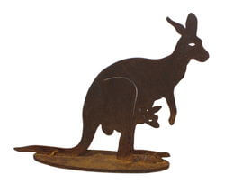 Small Kangaroo with Joey Stand Garden Art