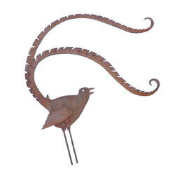 Medium Lyrebird Stake Garden Art