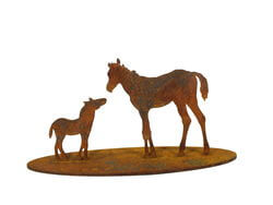 Small Mare and Foal Stand Garden Art