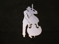 Stainless Steel Double Bass Player Magnet Garden Art