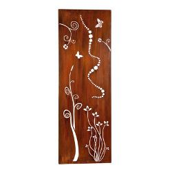 Tall Flower Box Metal Garden Wall Art