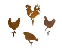 Three Chickens and Rooster Set of Four Stakes Garden Art