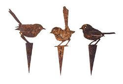 Three Fairy Wren Wedge Stake Set - Metal Garden Art
