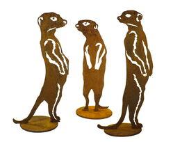 Three Meercat Stand Set Garden Art
