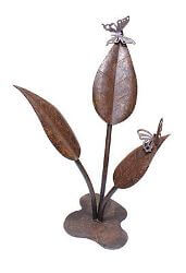 Two  Butterflies on Large Leaves Metal Garden Art