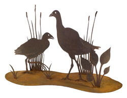 Waterbirds Stand Garden Art
