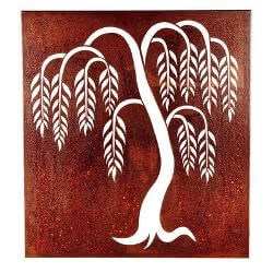 Weeping Willow Box Metal Garden Wall Art
