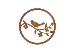 Wren Circle Panel Metal Garden Wall Art