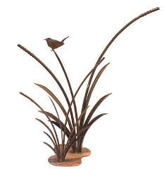 Wren on Double Reeds Metal Garden Art