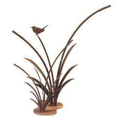 Wren on Double Reeds Metal Garden Art